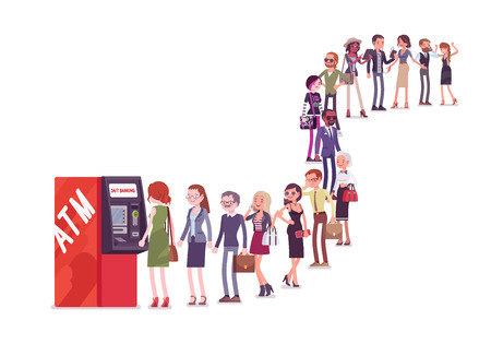 Illustration pour Group of people queuing in a line near ATM. Members of different nations, sex, age, jobs standing together waiting for bank service. Vector flat style cartoon illustration isolated on white background - image libre de droit