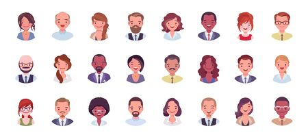 Illustration pour Business people avatar big bundle set. Businessmen and businesswomen face icons, character pic to represent online user in social net. Vector flat style cartoon illustration isolated, white background - image libre de droit