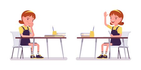 Illustration pour School girl studying at the desk, raise hand to speak. Cute small lady in a pinafore dress, active young kid, smart elementary pupil aged between 7, 9 years old. Vector flat style cartoon illustration - image libre de droit