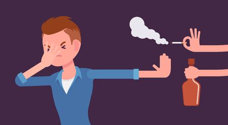 Illustration pour Bad habits refusal, boy against use of alcohol and smoking. Guy breaking or kicking, trying to get rid of drink and tobacco temptation, habit-control strategy. Vector flat style cartoon illustration - image libre de droit