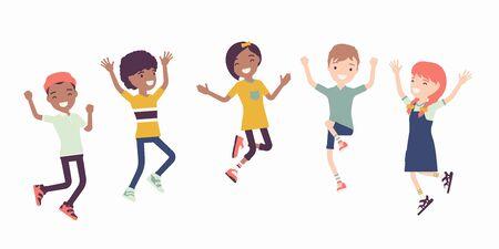 Ilustración de Happy joyful children jumping with joy. Cute kids having fun, diverse group of school friends enjoy free time together, entertainment or holiday activity. Vector flat style cartoon illustration - Imagen libre de derechos