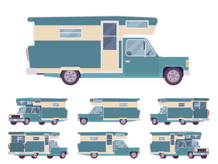 Illustration for RV camper turquoise van car, recreational vehicle. Motorhome trailer, living accommodations, holiday journey caravan, convenient home on wheels. Vector flat style cartoon illustration, different views - Royalty Free Image