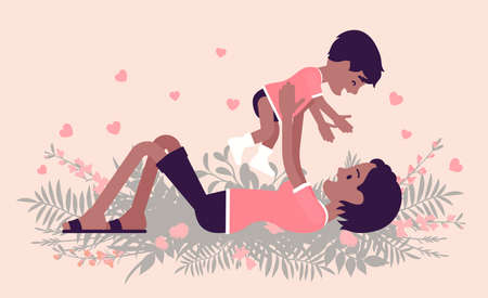 Ilustración de Mom and baby daughter, black mother throwing, tossing child. Happy motherhood, female health, parent playing with small kid. Vector creative stylized illustration, floral summer and spring background - Imagen libre de derechos