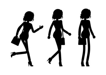 Illustration pour Businesswoman silhouette, office worker standing, walking, going - image libre de droit