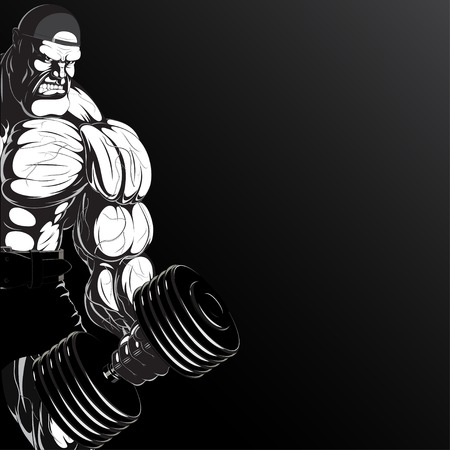 Illustration  a ferocious bodybuilder with dumbbell