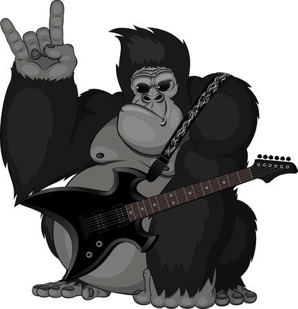 Illustration pour illustration  monkey with a guitar - image libre de droit