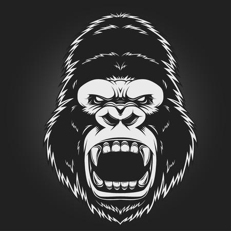 Illustration pour Angry gorilla head, vector illustration - image libre de droit