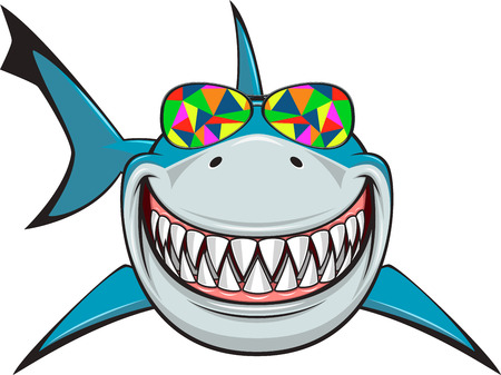 Vector illustration, toothy smiling white shark swims in colored glasses