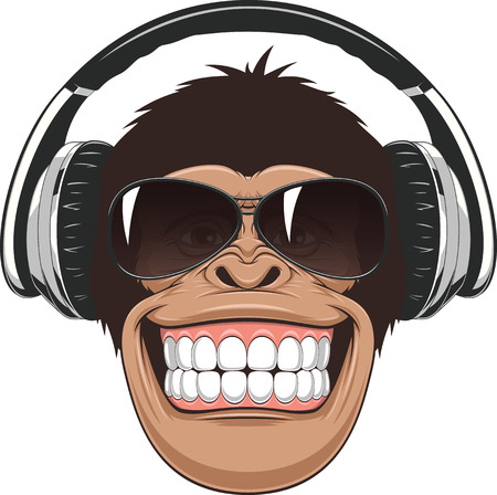 Vectorial illustration,funny chimpanzee in colored glasses and headphones