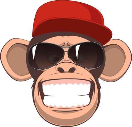 Ilustración de Vector illustration, funny chimpanzee in a baseball cap and glasses smiling - Imagen libre de derechos