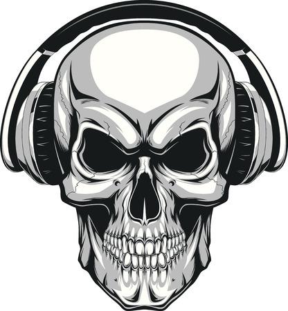 Vector illustration, human skull listening to music on headphones