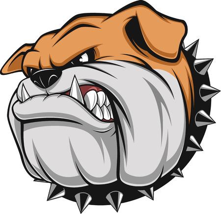Illustration pour Vector illustration Angry bulldog mascot head, on a white background - image libre de droit
