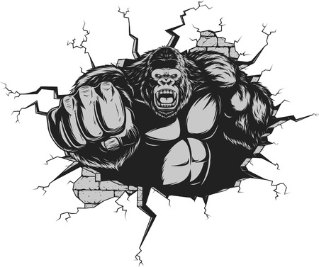 Vector illustration, ferocious gorilla hit the wall with his fist