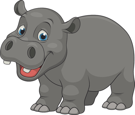 Ilustración de Vector illustration, cute smiling hippo on white background - Imagen libre de derechos