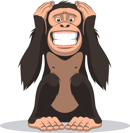 Illustration for Vector illustration, funny little monkey sits and closes the belly with hands - Royalty Free Image