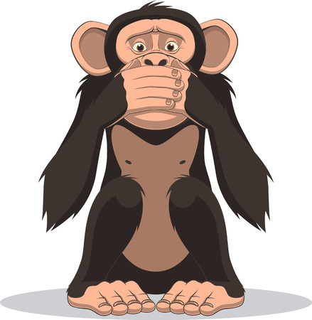 Illustration for Vector illustration, funny little monkey sits and closes his mouth - Royalty Free Image