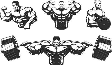 Illustration pour Vector illustration, silhouettes athletes bodybuilding, on a white background, contour - image libre de droit