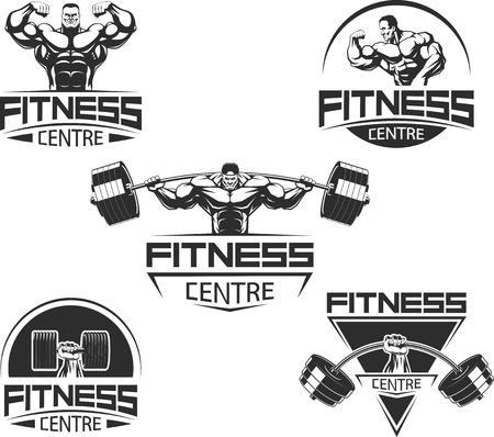 Ilustración de Vector illustration, Icons for bodybuilding and fitness - Imagen libre de derechos