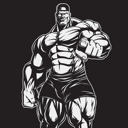 Foto per Vector illustration, strict coach bodybuilding and fitness - Immagine Royalty Free