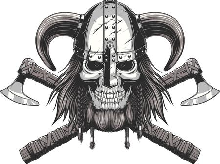 Illustration pour A vector illustration of a skull wearing a viking helmet. - image libre de droit
