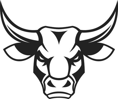 Ilustración de Vector illustration, a ferocious bull's head on a white background - Imagen libre de derechos