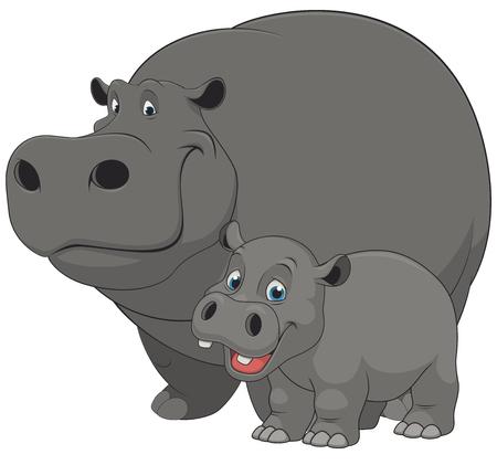 Ilustración de Vector illustration of an adult hippo and baby hippo, on a white background - Imagen libre de derechos