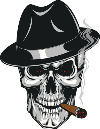 Illustration pour Vector illustration of an evil human skull in hat smoking a cigar on a white background - image libre de droit