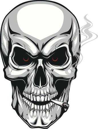 Illustration pour Vector illustration of an evil human skull smoking a cigarette on a white background - image libre de droit