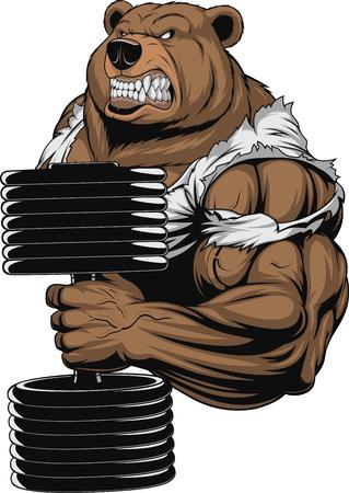 Ilustración de Vector illustration, a ferocious bear the athlete performs the exercise for biceps with dumbbells - Imagen libre de derechos
