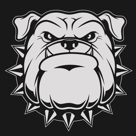 Ilustración de Vector illustration head ferocious bulldog mascot, on a black background - Imagen libre de derechos