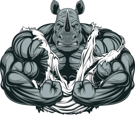 Ilustración de Vector illustration of a strong rhino with big biceps - Imagen libre de derechos