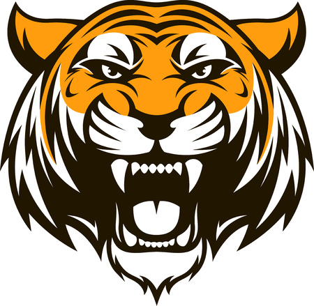 Illustration for Vector illustration head ferocious tiger on a white background - Royalty Free Image