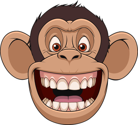 Illustration for Vector illustration, funny chimpanzee head smiling, on a white background - Royalty Free Image