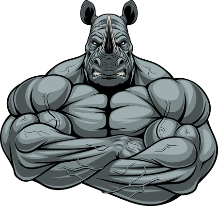 Photo for Vector illustration, symbol of a strong bodybuilder rhinoceros on a white background - Royalty Free Image