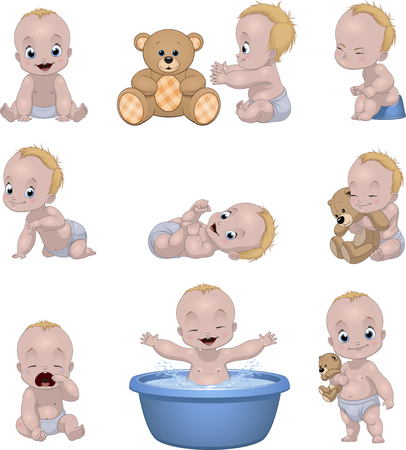 Foto de Vector illustration set of funny babies kids on a white background - Imagen libre de derechos