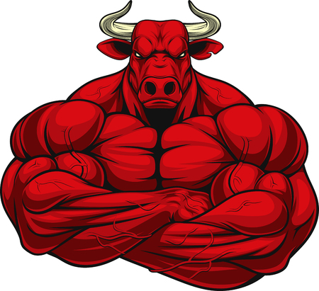 Illustration pour Vector illustration of a strong healthy bull with large biceps. - image libre de droit