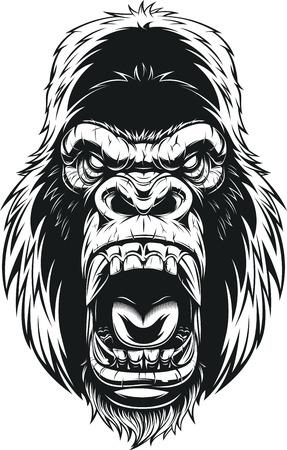 Illustration pour Vector illustration, ferocious gorilla head on background - image libre de droit