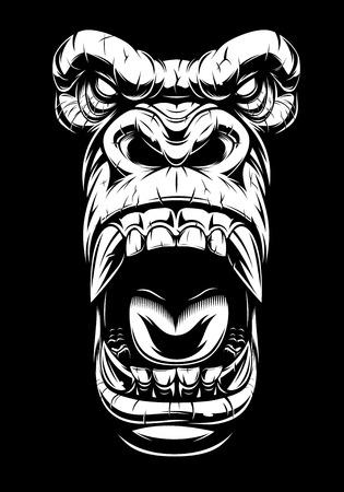 Illustration pour Vector illustration, ferocious gorilla head, on black background, stencil - image libre de droit