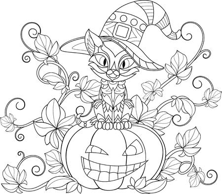 Illustration pour Funny feline in a witch hat sits on a pumpkin - image libre de droit