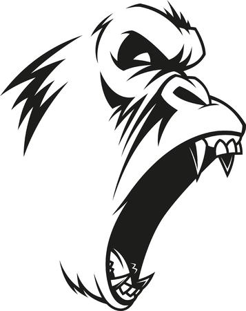 Illustration pour Vector illustration, label of a fierce gorilla, outline, on a white background - image libre de droit