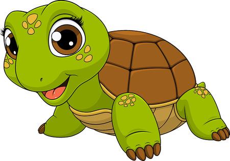 Illustration pour Vector illustration of a cute turtle baby child smiling, on a white background, coloring  - image libre de droit
