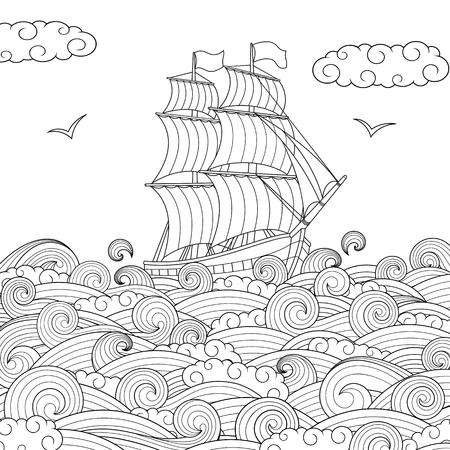 Ilustración de Vector illustration, children's sailing ship on the waves, children's coloring page - Imagen libre de derechos