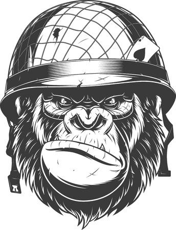Vector illustration, fierce gorilla wearing military helmet, soldier of fortune, on white background