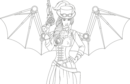 Ilustración de Vector illustration of a beautiful girl with mechanical wings steampunk holding a gun, over white background - Imagen libre de derechos