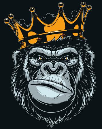 Illustration pour Vector illustration, ferocious gorilla head on with crown, on black background - image libre de droit