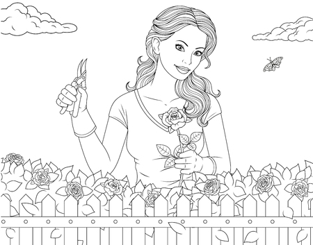 Illustration pour Vector illustration coloring page, beautiful girl is caring for roses in the garden - image libre de droit