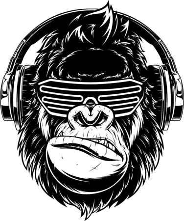 Illustration pour Vector illustration. funny gorilla listening to music on headphones, stylish DJ - image libre de droit