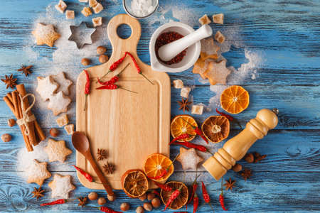 Spicy Christmas background. ingredients for cooking baking