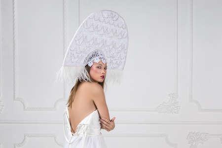 Photo for Amazed woman at russian traditional cap hat kokoshnik - Royalty Free Image