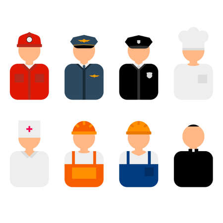 Professions flat characters vector illustration. Profession avatars icons set. Set of colorful profession people flat style icons without faces. Doctor, policeman, fireman, cook, priest, worker